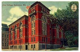 Baltimore City College Post Card 1921